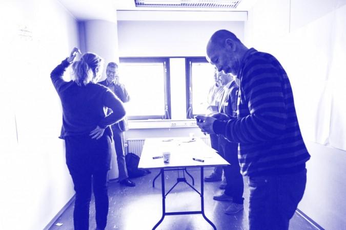 Vacant Spaces project, open ideas workshop at an empty office building in Merihaka, Helsinki. Photo: Johannes Romppanen