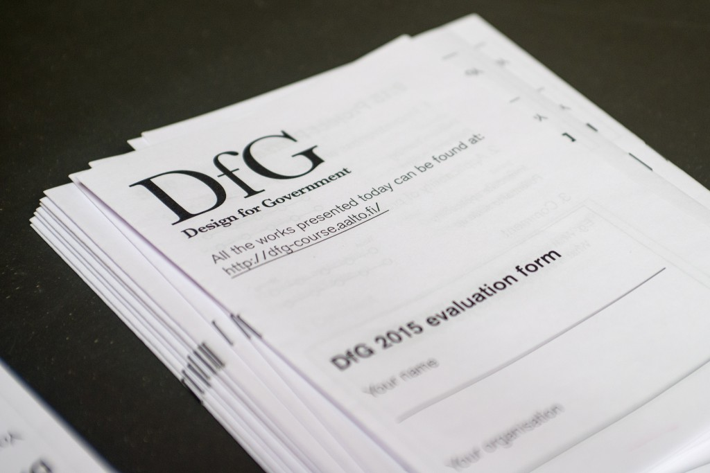 DfG evaluation forms at the Final Show 2015. Photo: Glen William Forde