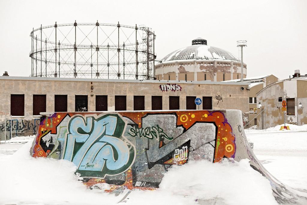 A skate park in Kalasatama built by active skaters. Photo: Johannes Romppanen