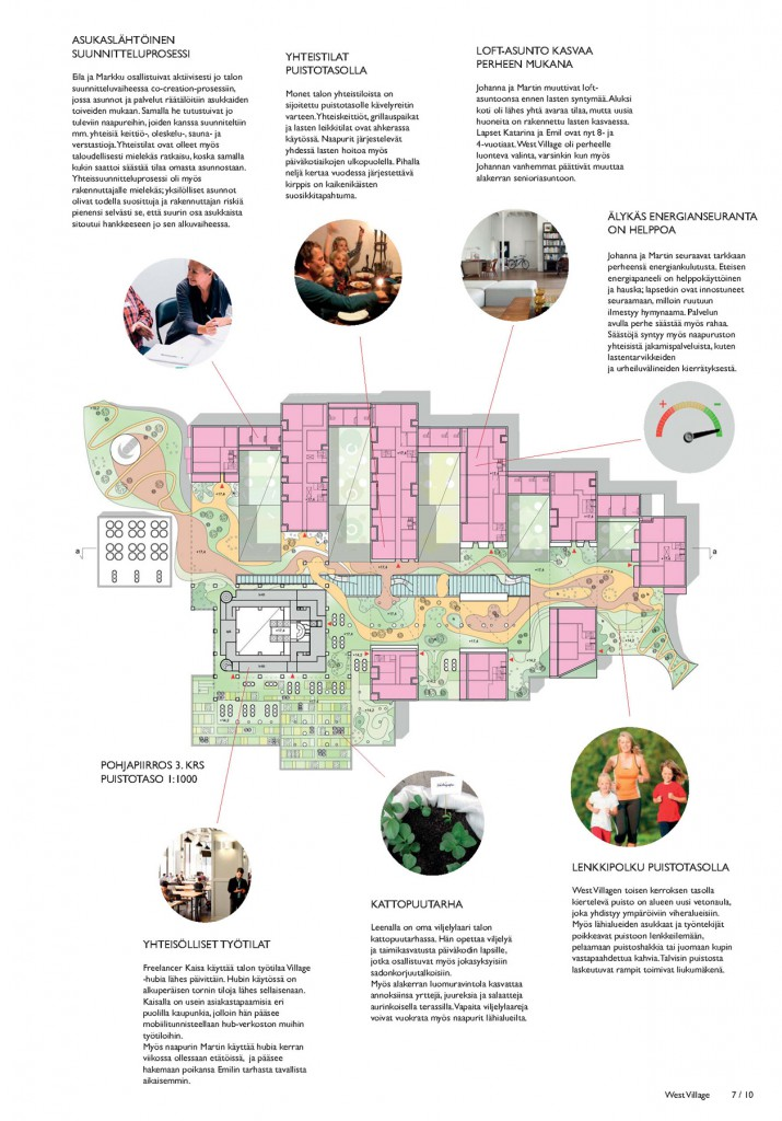Upper floor plan with park deck and service / user stories